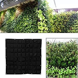 Yinuoday 72 Pocket Vertical Wall Garden Planter,Wall Hanging Planting Bags for Garden Indoor Outdoor (16 Pockets) 3 ❤The felt material, meet environmental standards, non-toxic biodegradable, anti ultraviolet, anti-corrosion, sunscreen, heat. ❤Hanging on the walls, save space, planting strawberries, vegetables, foliage plants. ❤Reusable, portable, economical and practical.