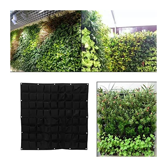 72 Pocket Vertical Wall Garden Planter,Wall Hanging Planting Bags for Garden Indoor Outdoor (16 Pockets) 1 ❤The felt material, meet environmental standards, non-toxic biodegradable, anti ultraviolet, anti-corrosion, sunscreen, heat. ❤Hanging on the walls, save space, planting strawberries, vegetables, foliage plants. ❤Reusable, portable, economical and practical.