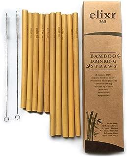 Elixr360 •10 Eco-Friendly Organic Reusable Bamboo Drinking Straws • 2 Natural Sizes • 5-8