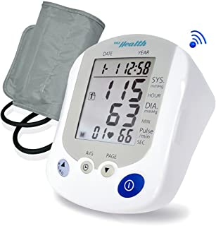 Portable Automatic Blood Pressure Tracker - Digital Bluetooth Pulse Rate Systolic Diastolic BP Monitor Machine, Works w/ Pyle Health App, Standard Cuff Fits Large, Any Size Upper Arm - Pyle