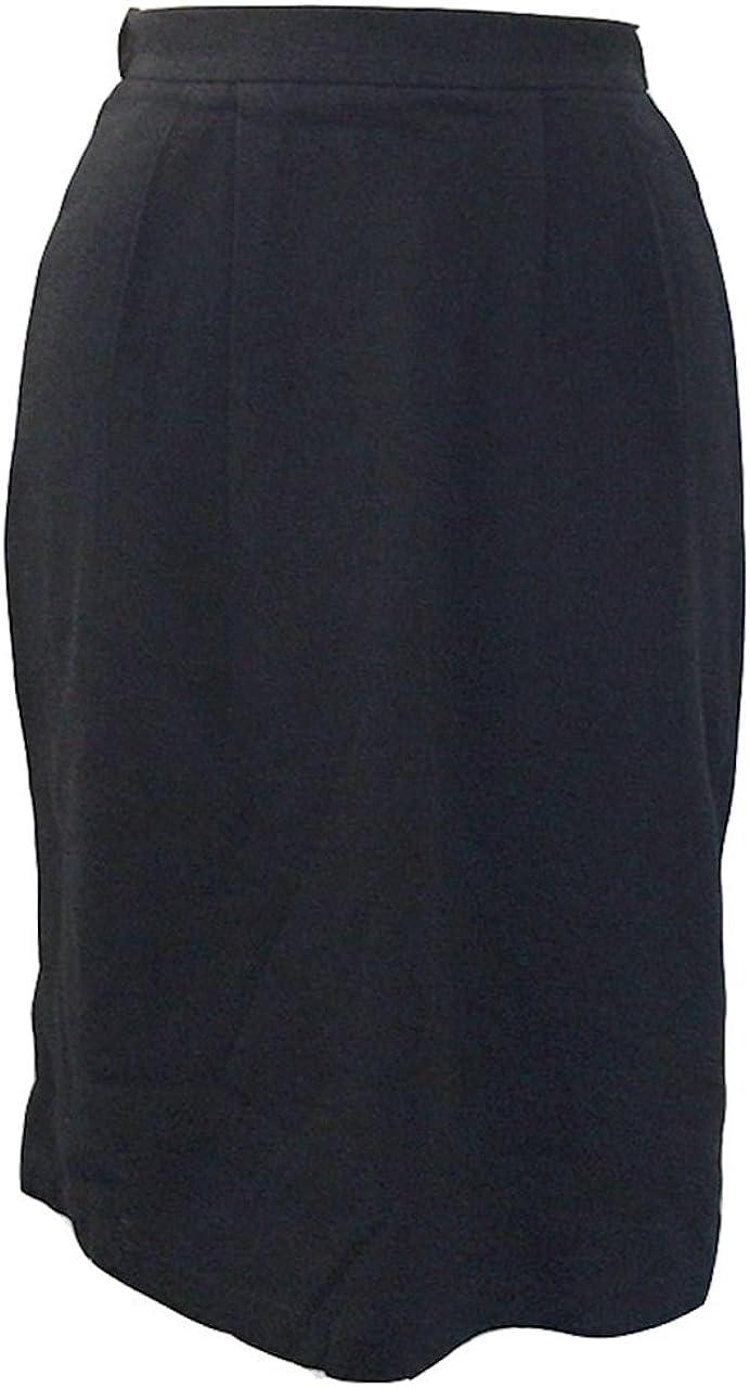 Lisa Ashley Women's Fashion Basic Casual Knee Length Elastic Waist Straight Skirts 100% Cotton - Black