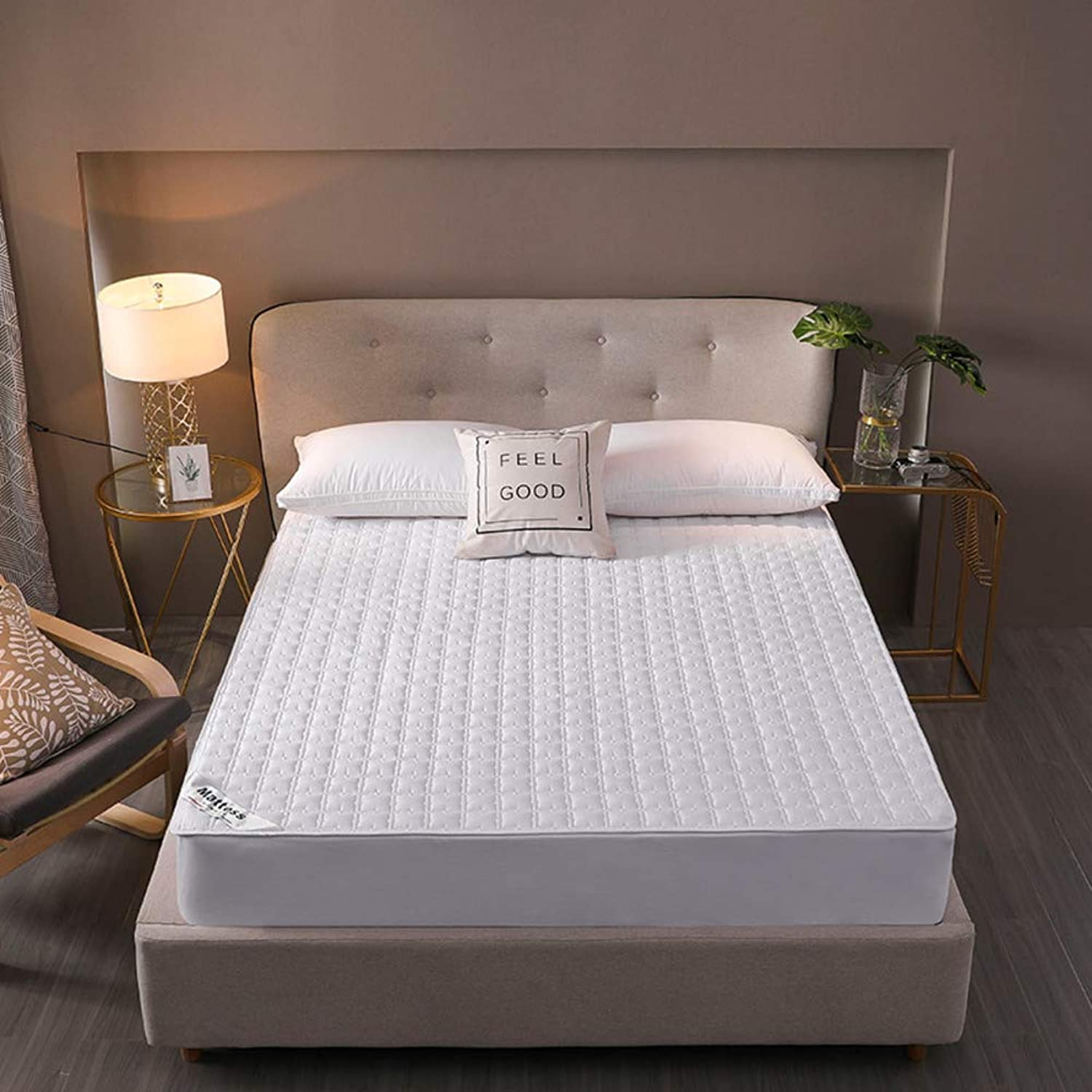 Cotton Mattress Topper, Solid color Quilted Bedroom Comfort Bed roll-White 71x87inch
