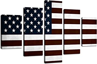 American Flag Modern Wall Decor USA Canvas HD Print Painting 5 panel/Set Framed Pictures Posters and Prints Wall Art for Living Room Giclee Print Artwork Stretched Ready to Hang(60''W x 40''H)