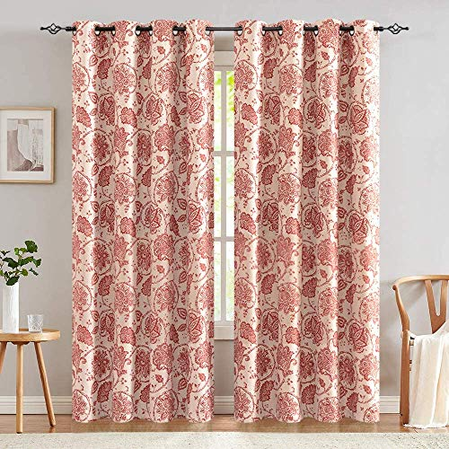 jinchan Floral Scroll Printed Linen Textured Curtains Grommet Top Ikat Flax Textured Medallion Design Jacobean Room Darkening Curtains Retro Living Room Window Covering Terra Red 84 inch Two Panels