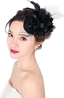 Punk Mini Top Hat, Aniwon Women Ladies Flower Hair Clip Feather Fascinator