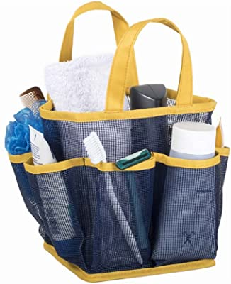 Mesh Portable Shower Tote and Caddy - Multiple Colors Available. Perfect For Dorm, Gym, Bath with Handles. Fast Drying, Navy Blue with Yellow Trim