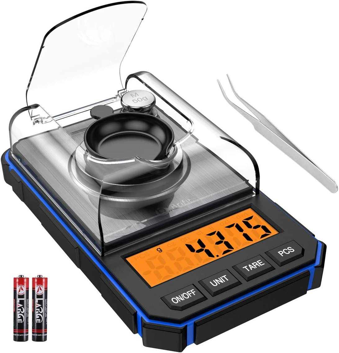 Brifit Digital Milligram Scale Batteries Included Professional Pocket Scale with 50g Calibration Weights Tweezers 50g Portable Mini Scale 0.001g Precise Graduation