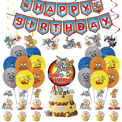 Tom and Jerry Party Decorations, Tom and Jerry Birthday Party Supplies, Party Favors included Banners, Cake Topper, Cupcake Toppers, Latex Balloons, Hanging Swirls (Set of 62pcs)