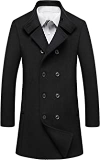 Men's Classic Wool Blend Double Breasted Long Pea Coat
