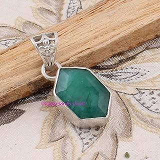 Emerald Pendant, 925 Sterling Silver Pendants for Womens, Fancy Gemstone Pendants, Handmade May Birthstone Pendants, 6 Corner Pendant