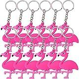 TE-Trend 12 Stück Schlüsselanhänger Flamingo Anhänger Deko Vogel Wasservogel Kette Ring Handy Keychain Rainbow Mädchen Geburtstag Mitgebsel rosa