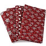 MoonyLI 4Pcs Christmas Cotton Fabric Craft Bundle