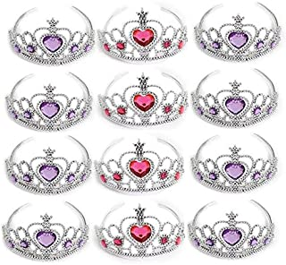 Dazzling Toys 12 Pack Princess Tiara with Pink and Purple Jewels | Kids Princess Crowns | 1 Dozen | Great for Kids to us for Props, Dress Ups, Weddings, Halloween and More