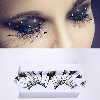 Nicute Fashion Handmade Black Long Lashes Dance Feather False Eyelashes Set Halloween Cosplay Fake Eyelash 2 Pairs for Women and Girls