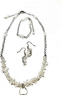 【ネックレス】【完成品】3点セット ネックレス ピアス ブレスレット ペンダント 天然石 ハートムーンストーン シェル