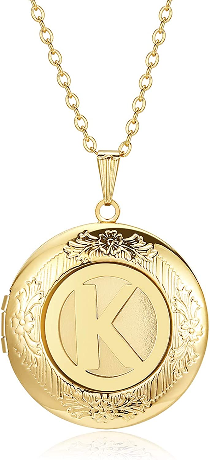 Locket Necklace That Holds Pictures Alphabet Initial Letter Round Lockets 18K Gold Plated Photo Memory Locket Necklaces