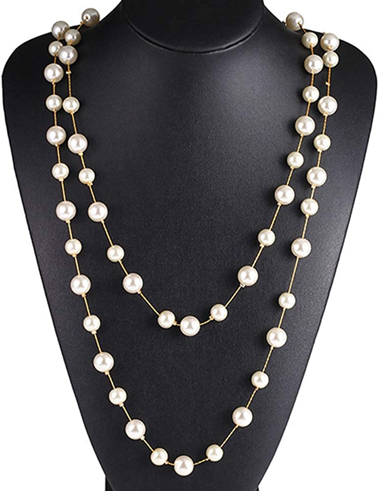 Jude Jewelers Long Double Strand Faux Pearl Statement Cocktail Party Necklace