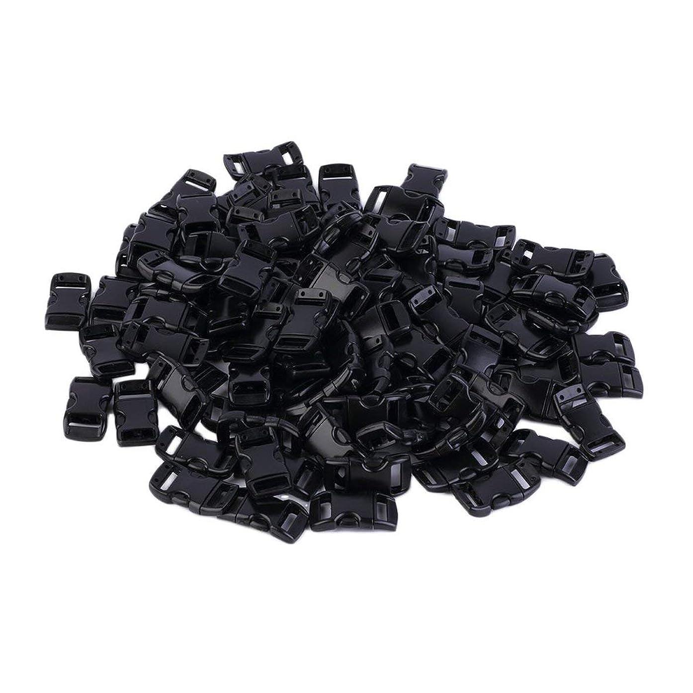 防腐剤アセアナニバーBlackfell プラスチック100個ウェビングスロット3/8インチ輪郭の湾曲したサイドリリースバックル用パラコードブレスレット約28 x 18 mm