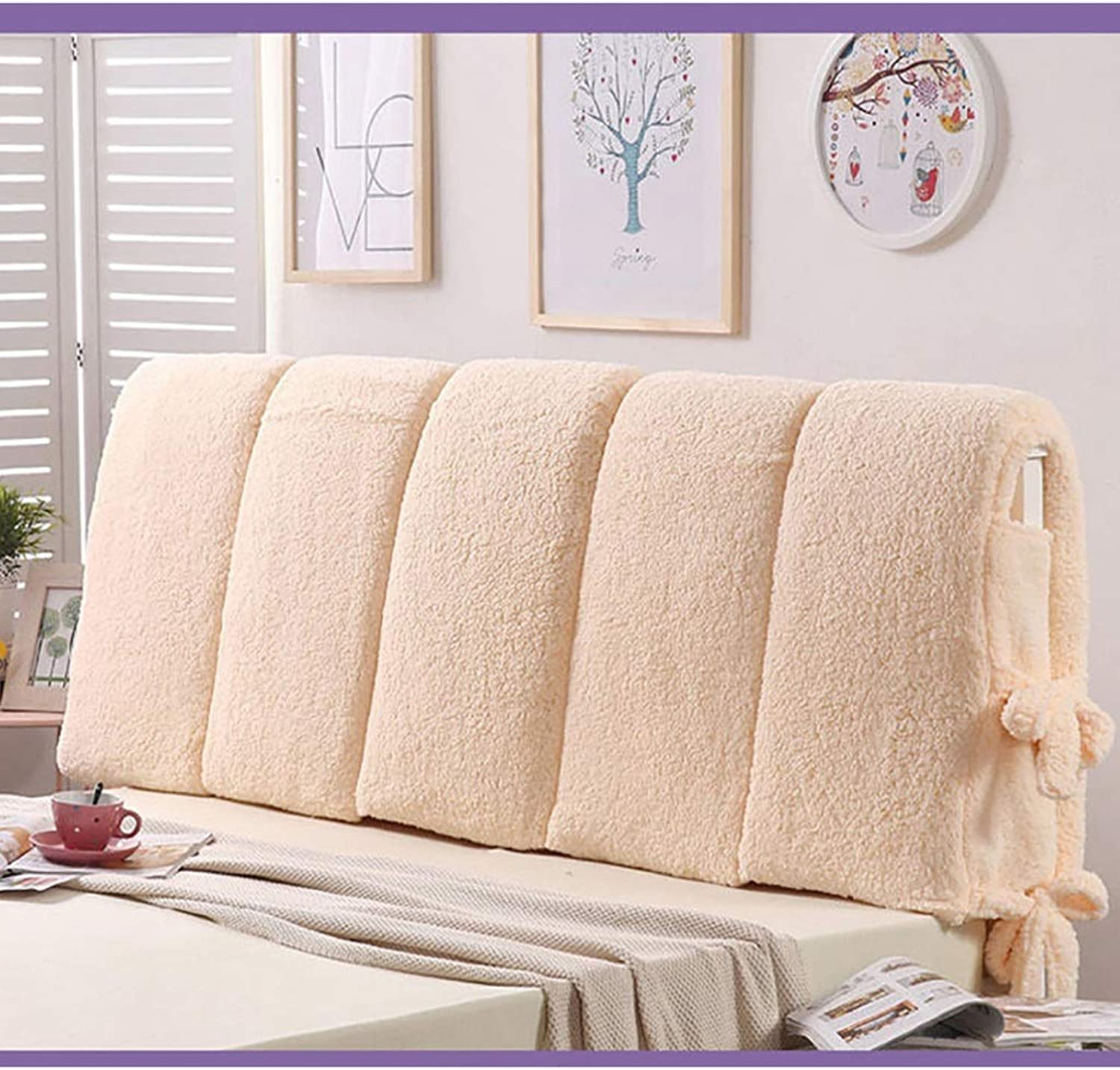 Large Soft Upholstered Headboard Cushion Wall Pillow Lumbar Pad Bed Backrest Breathable Removable Washable (color   B, Size   150cm)