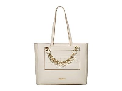 LOVE Moschino Chained Love Tote (Ivory Calf PU) Handbags