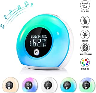 Elecstars Alarm Clock, Dimmable Night Light with Bluetooth Speaker, Bedside Lamp Music Player, Colorful Wake Up Light for Party, Bedroom, Camping, Best Gift for Kids and Friends