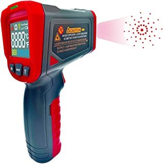 Digital Laser Infrared Thermometer Temperature IR Gun 12 Point Non Contact with Color LCD Adjustable Emissivity and Max Measure for Indoor Outdoor Industry Use -50 to 550℃
