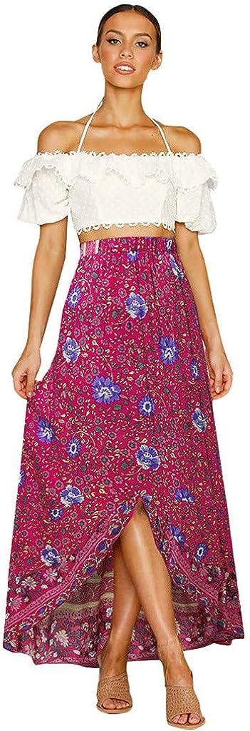 Holzkary Fashion Wild Elastic High Waist Skirt Casual Beach Boho Print Irregular Hem Long Skirts