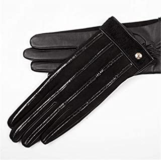 SHENTIANWEI Women's Leather Gloves All Touch Screen Autumn and Winter Knitted Gloves (Color : Black, Size : M)
