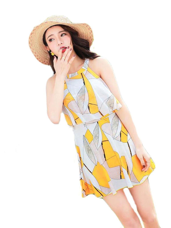 YiTong レディース 水着 ビキニ タンキニ 夏 温泉 ワンピース ホルターネック 女性 水着水陸両用 体型カバー 可愛い 連体 韓国風 セクシー すがすがしい ファッション