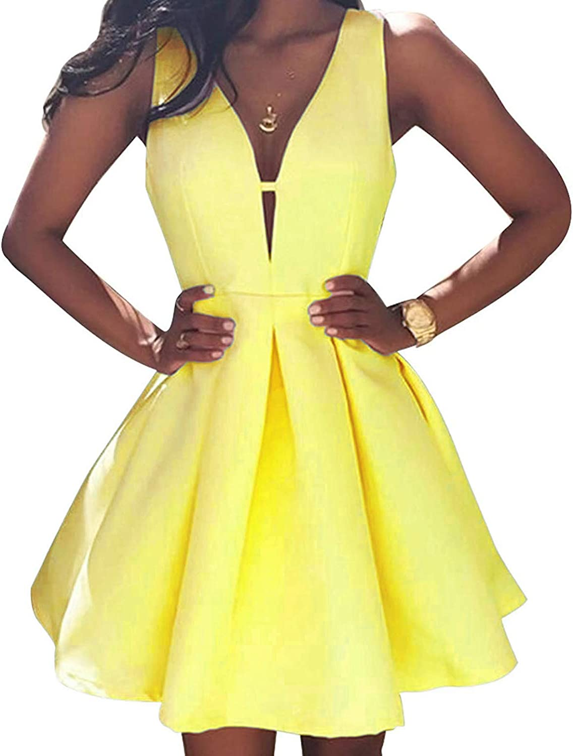 Xjizu V-Neck Sexy Mini Homecoming Dresses Short Formal Prom Party Gowns for Women