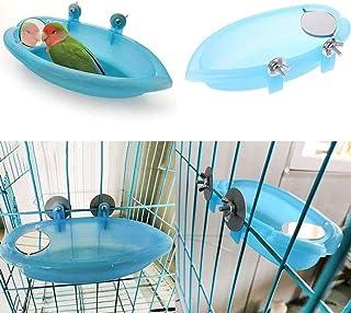لعبة حوض استحمام معلق في قفص ووحدة تغذية مع مرآة للطيور والببغاء والطيور الاليفة والكوكاتيل من دي تي (لون ازرق)