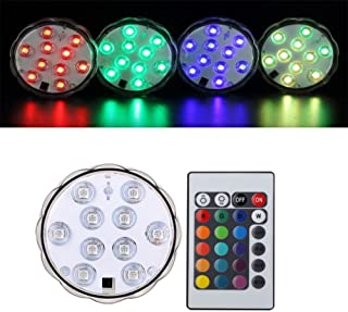 4 Pack Remote Controlled RGB Submersible LED Lights AAA Battery Operated LED Decorative Lights(Multi-Colored-4 Pack)