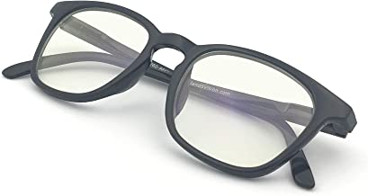 J+S Vision Blue Light Shield Computer Reading/Gaming Glasses - 0.0 Magnification - Anti Blue Light 100% UV Protection - Low Color Distortion Lens, Square Black Frame