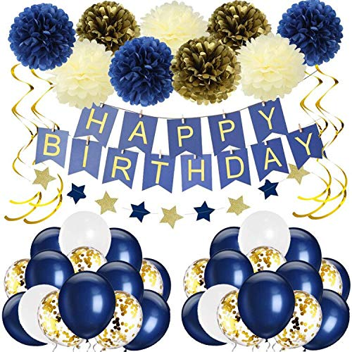 1st Birthday Boy Prince Party Supplies Navy Gold Birthday Party Decorations Blue Happy Birthday Banner Paper Star Garland Paper Flowers Tissue Paper Pom Poms Navy Blue Balloons for Boy First Birthday