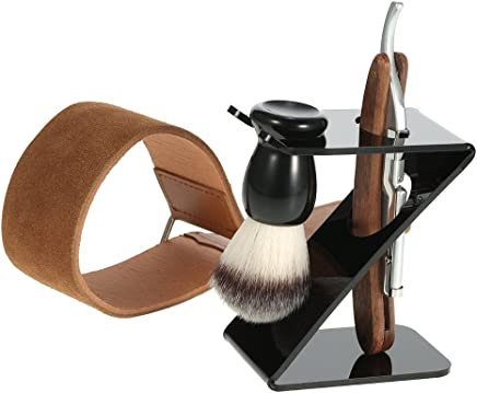 Anself 4 in 1 Straight Razor + Shaving Brush + Brush Stand + Leather Strop Strap Man's Shaving Brush Set