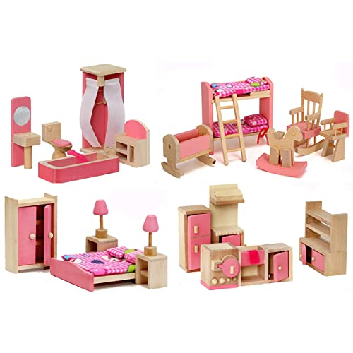 Retro Doll House Miniature Bathroom Wooden Furniture Set Kids Pretend Play Toy