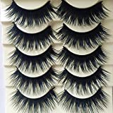 Polytree 5 Pairs Blue+Black Long Thick Cross False Eyelashes Makeup Eye Lash Extension