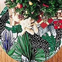 ツリースカート クリスマスツリースカート ジラフ 花 葉 ホリデーデコレーション メリイクリスマス飾り 下敷物 可愛い 雰囲気 クリスマスパーティー 直径107cm