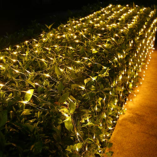 Joomer 12ft x 5ft 360 LED Connectable Christmas Net Lights, 8 Modes Bush Lights Mesh Netting Lights for Christmas Trees, Bushes, Wedding, Garden, Outdoor Decorations (Clear Wire, Warm White)