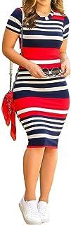 VERWIN Fashion Round Neck Patchwork Short Sleeve Stripe Women's Bodycon Dress Midi Dress