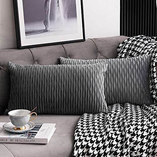 DEZENE Grau Gestreifte Dekorative Kissenbezug: 2er Pack 30cmx50cm Original Samt Rechteckige Kissenbezüge für Schlafzimmersofa