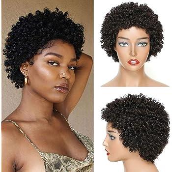 Ms Taj Short Human Hair Afro Wigs for Black Women Brazilian Virgin Short Curly Afro Wigs Human Hair 150% Density Natural Black (style two) (Natural Black, afro kinky)