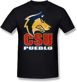 Agongda Man's NCAA Colorado State University CSU Pueblo ThunderWolves Logo T-Shirt