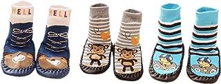 AMDUDU, 3 Pares de Calcetines de Algodón Calcetines para Bebé Niños Niñas,Zapatillas antideslizantes para niños Zapatillas de deporte