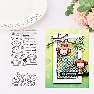 1Set Monkey Silicone Clear Stamp with Cutting Dies Stencil DIY Scrapbooking Embossing Photo Album Decorative Paper Card Craft Art Handmade