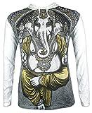 Weed Camiseta con Capucha Hombre Ganesha - El Dios Elefante Talla M L XL India Hinduismo Buda Yoga (L, Blanco)