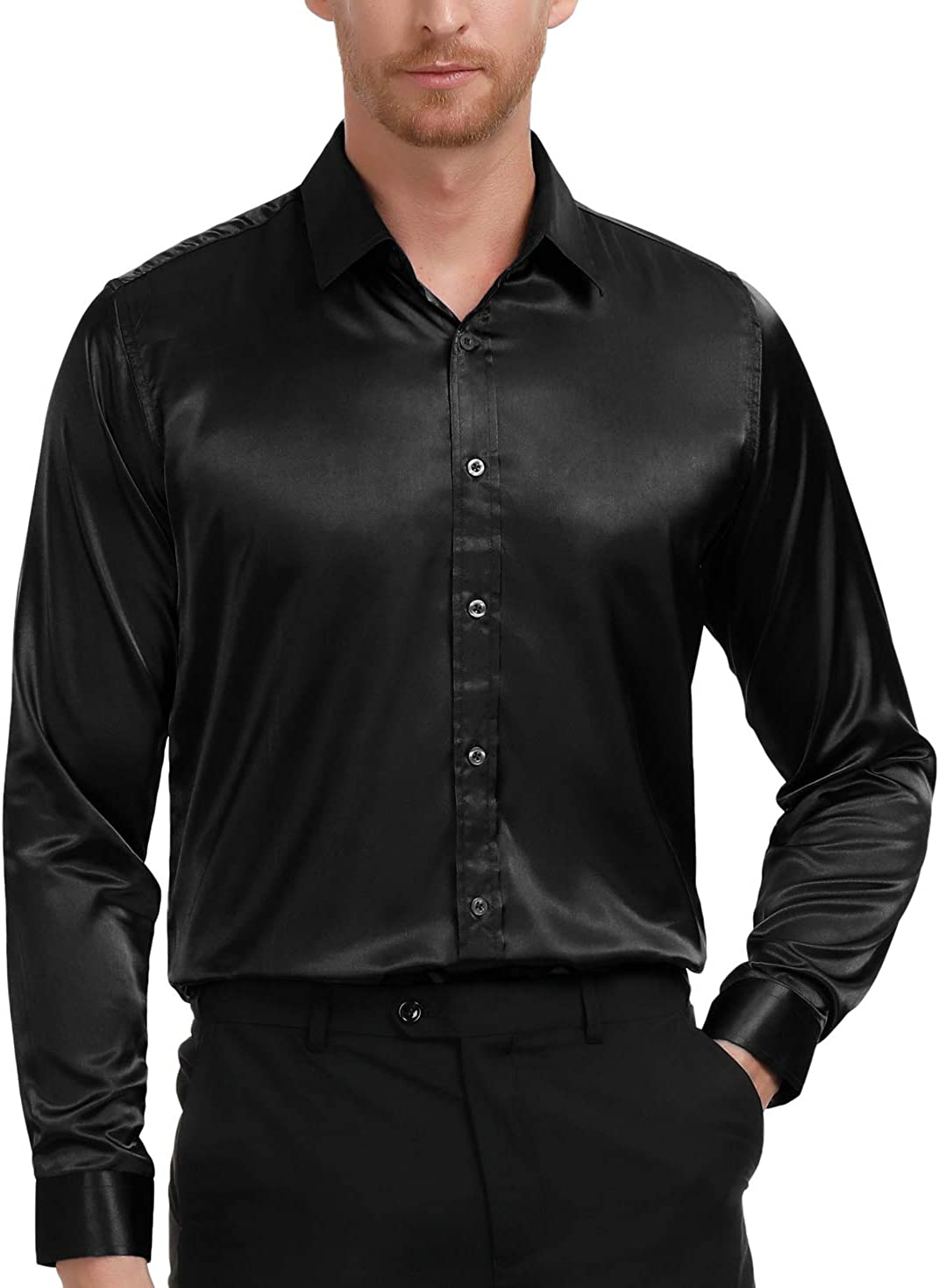 Paul Jones Men's Fashion Slik Like Luxury Party Shirt Basic Designed