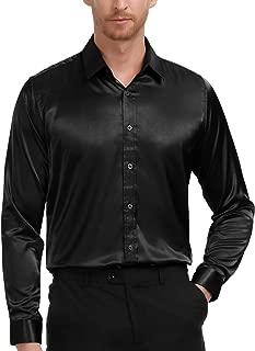 PAUL JONES Men's Slim Fit Silk Like Satin Luxury Dress Shirt