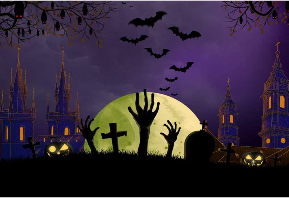 DaShan 12x10ft Horrible Halloween Backdrop Scary Ghost Graveyard Castle Witch Wizard Sorcerer Theme Halloween Party Photography Background Pumpkin Lamp Halloween Celebration Decor Photo Prop