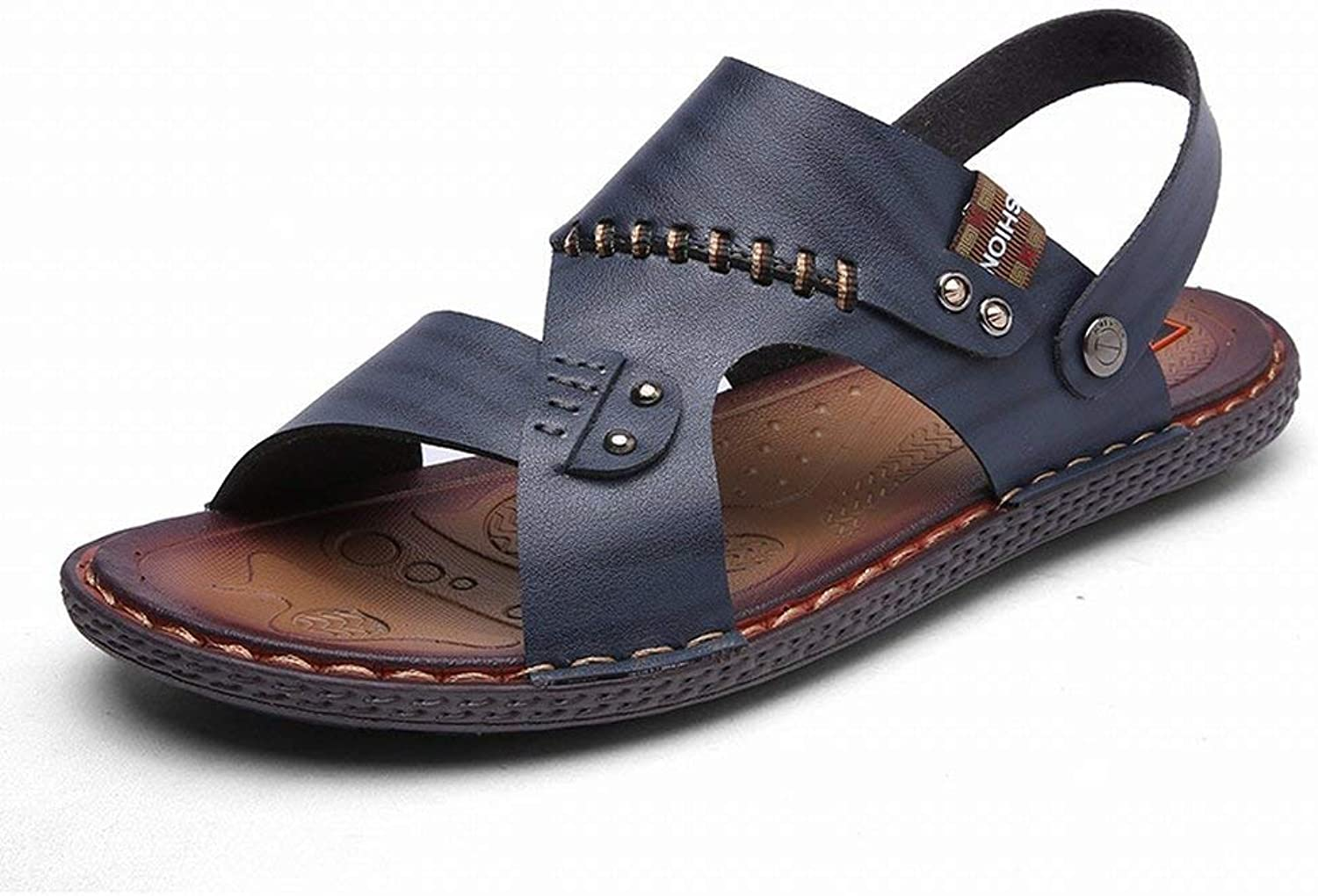 Fuxitoggo Fashion Handmade Sandals Comfort All Match Slippers Slip Two Wear Men's Sandals (color   bluee, Size   42)